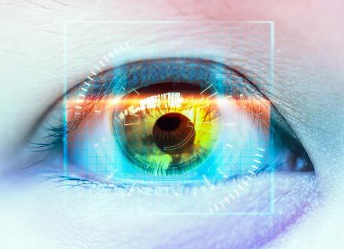 Close up of an eye after eye surgery
